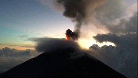 Fuego erupting in the evening